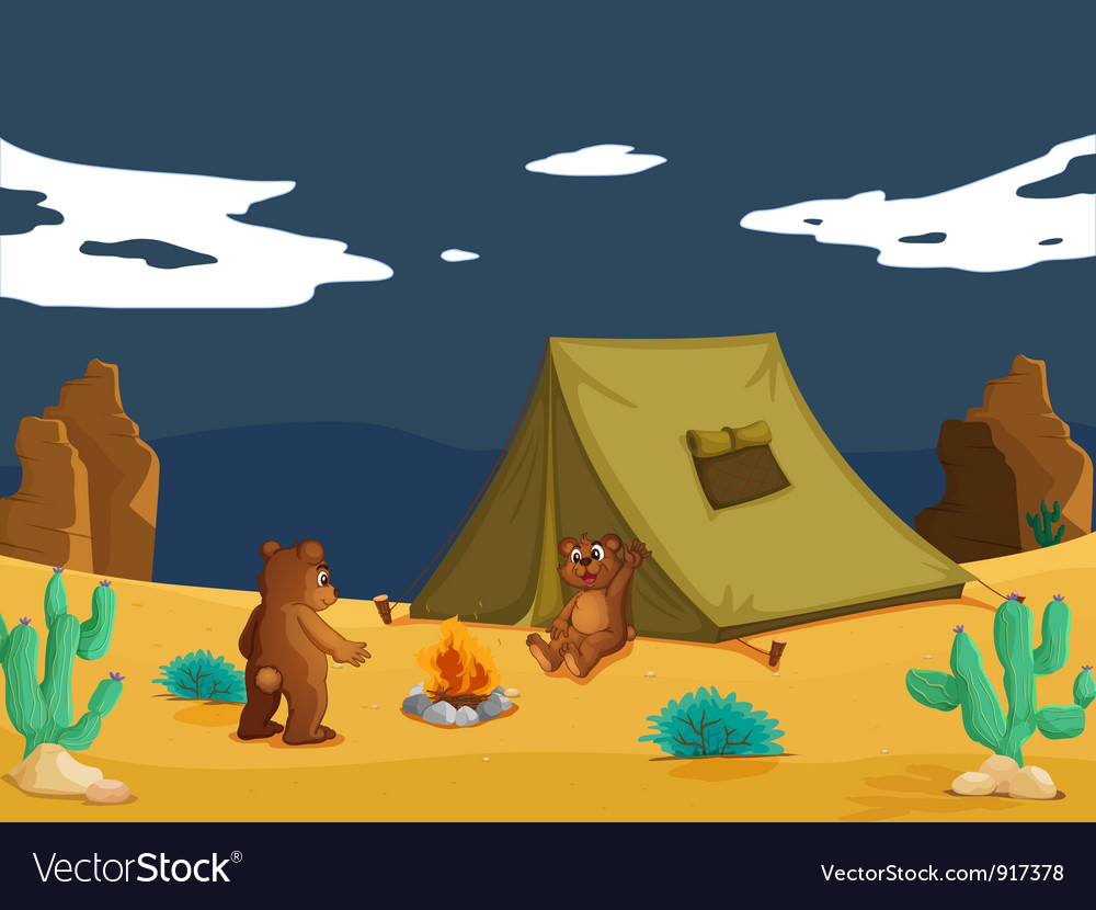 Bears camping vector | Price: 3 Credit (USD $3)