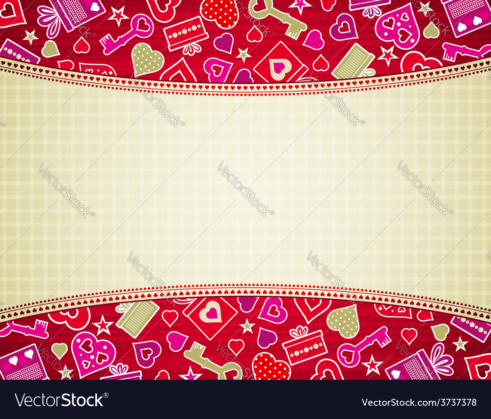 Beige valentine background with hearts and gifts vector | Price: 1 Credit (USD $1)