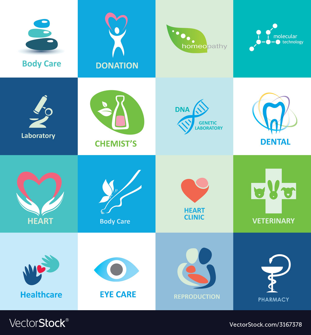 Big set of medical icons collection of emblems vector | Price: 1 Credit (USD $1)