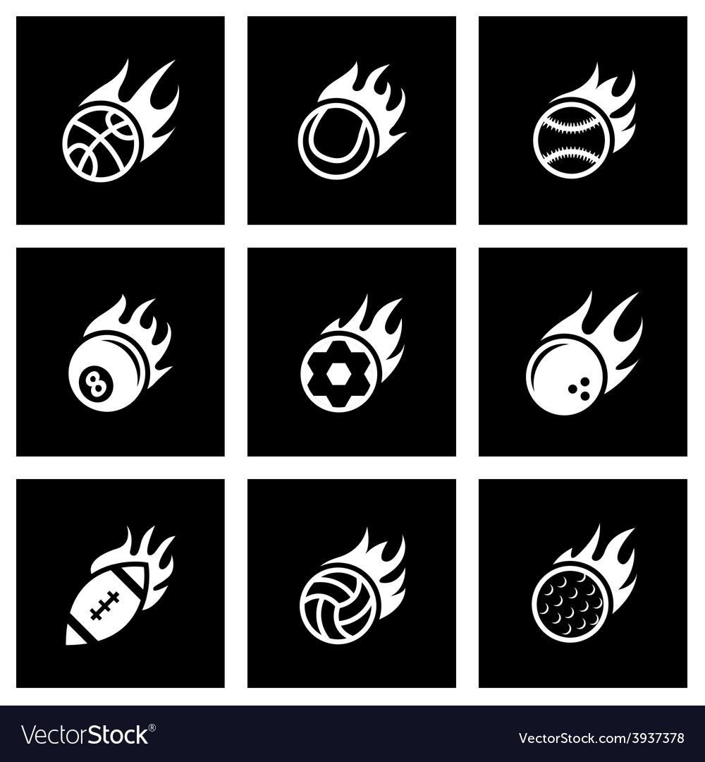 Black fire sport balls icon set vector | Price: 1 Credit (USD $1)