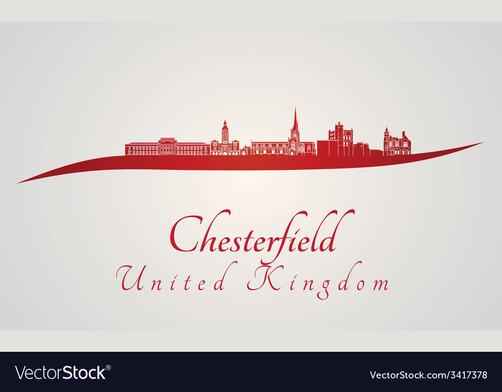 Chesterfield skyline in red vector   Price: 1 Credit (USD $1)