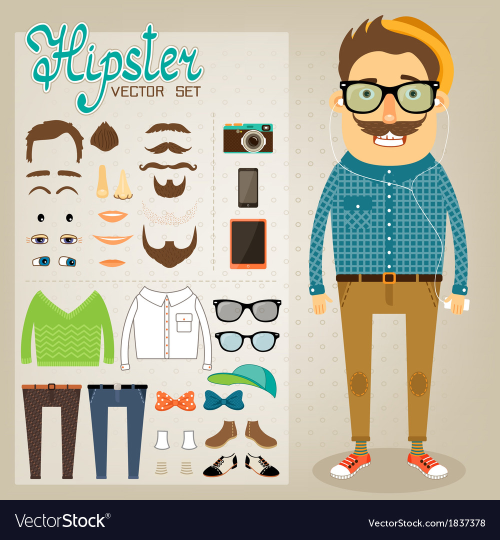 Hipster character pack for geek boy vector | Price: 1 Credit (USD $1)