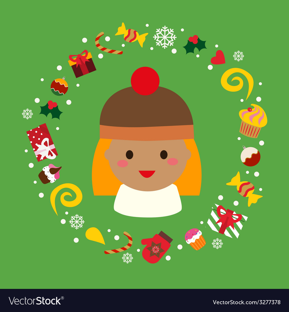 Holiday with cute girl vector | Price: 1 Credit (USD $1)