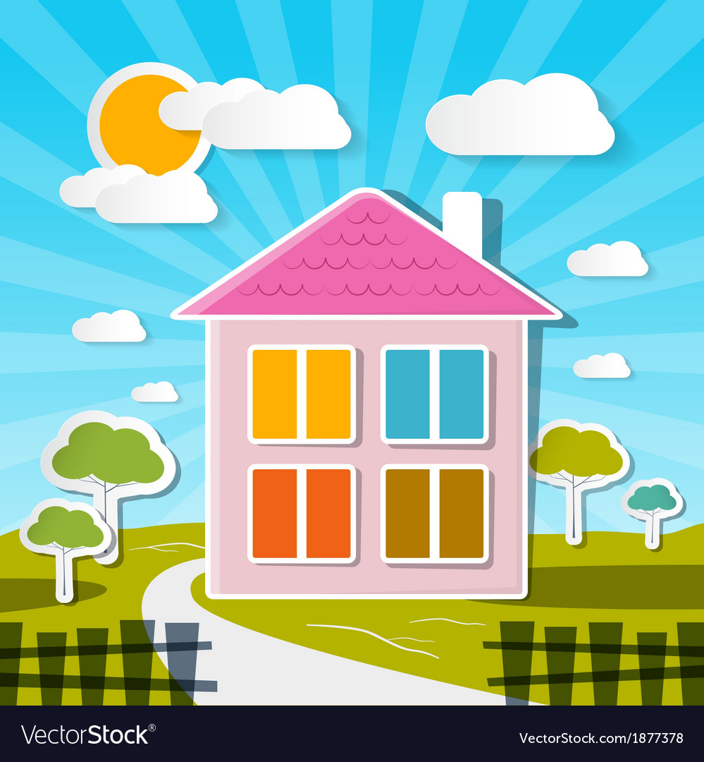 House on sunny day with trees and clouds vector | Price: 1 Credit (USD $1)