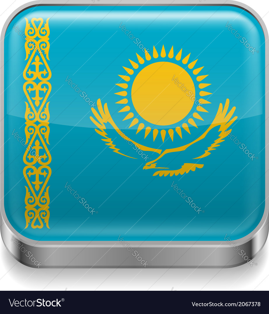 Metal icon of kazakhstan vector | Price: 1 Credit (USD $1)
