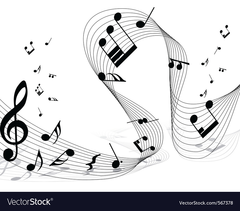 Musical notes staff background for design use vector | Price: 1 Credit (USD $1)