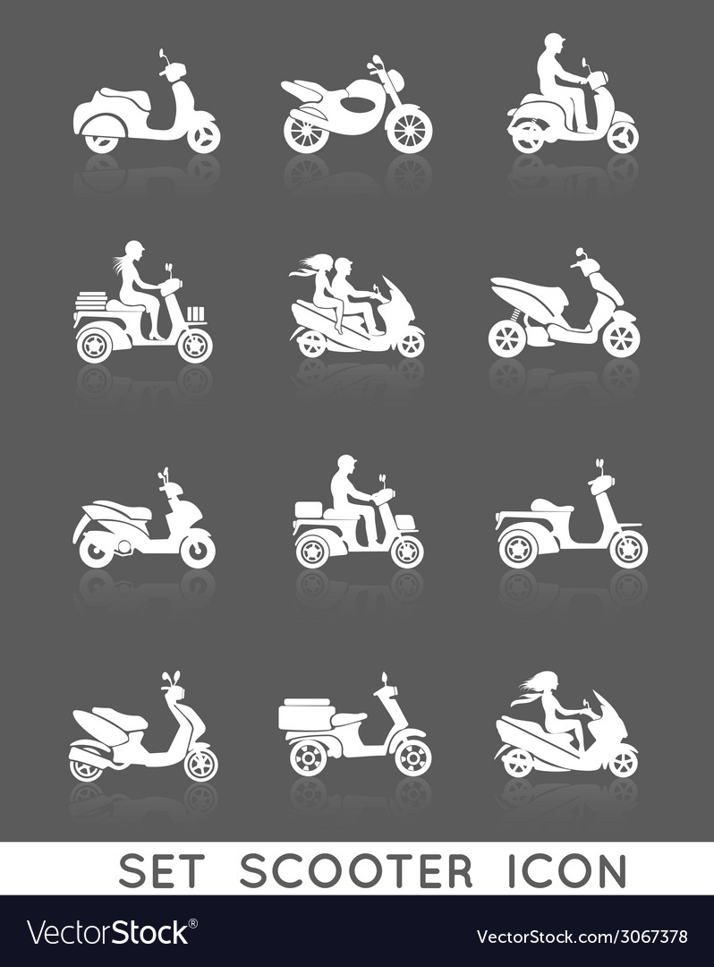 Scooter icons set vector | Price: 1 Credit (USD $1)
