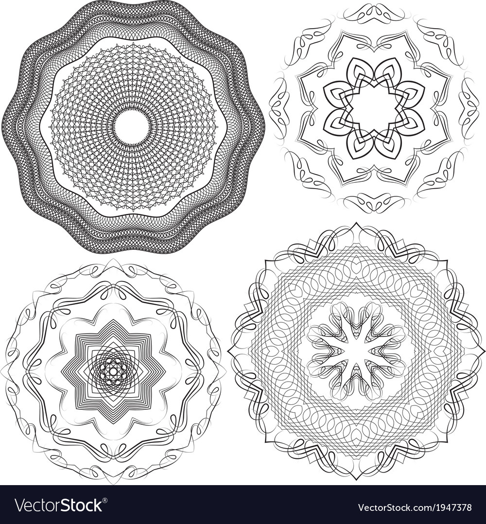 Set of vintage backgrounds guilloche ornament vector | Price: 1 Credit (USD $1)