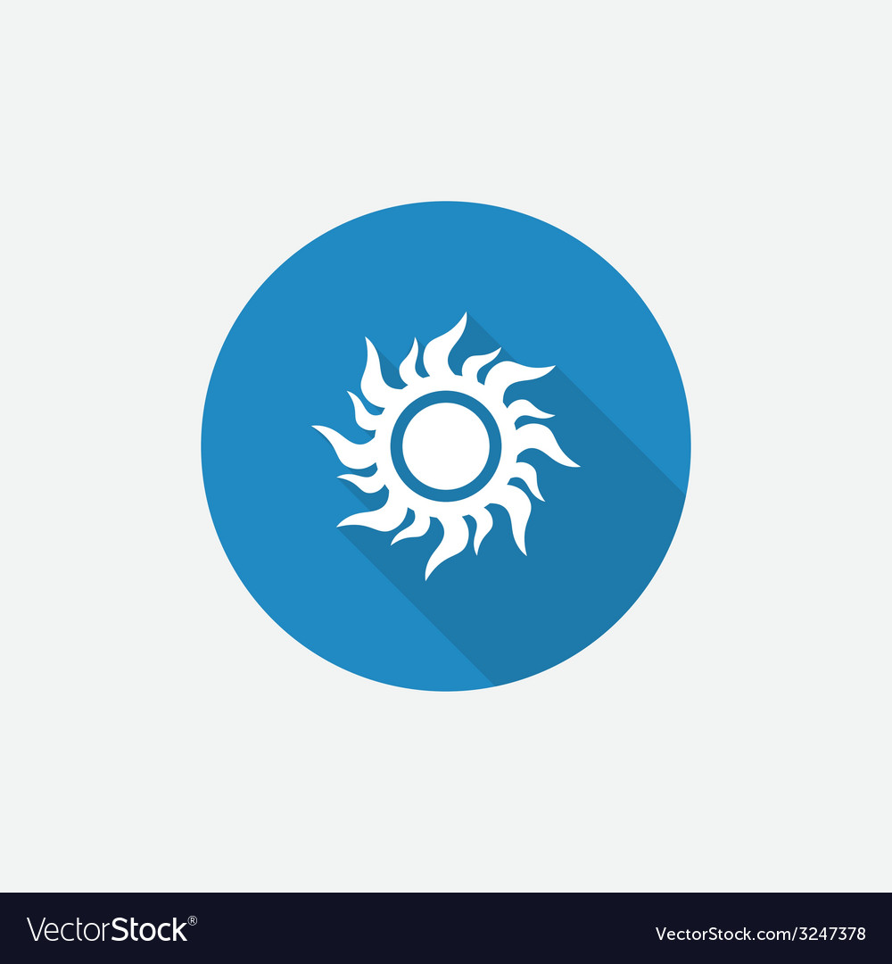 Sun flat blue simple icon with long shadow vector | Price: 1 Credit (USD $1)