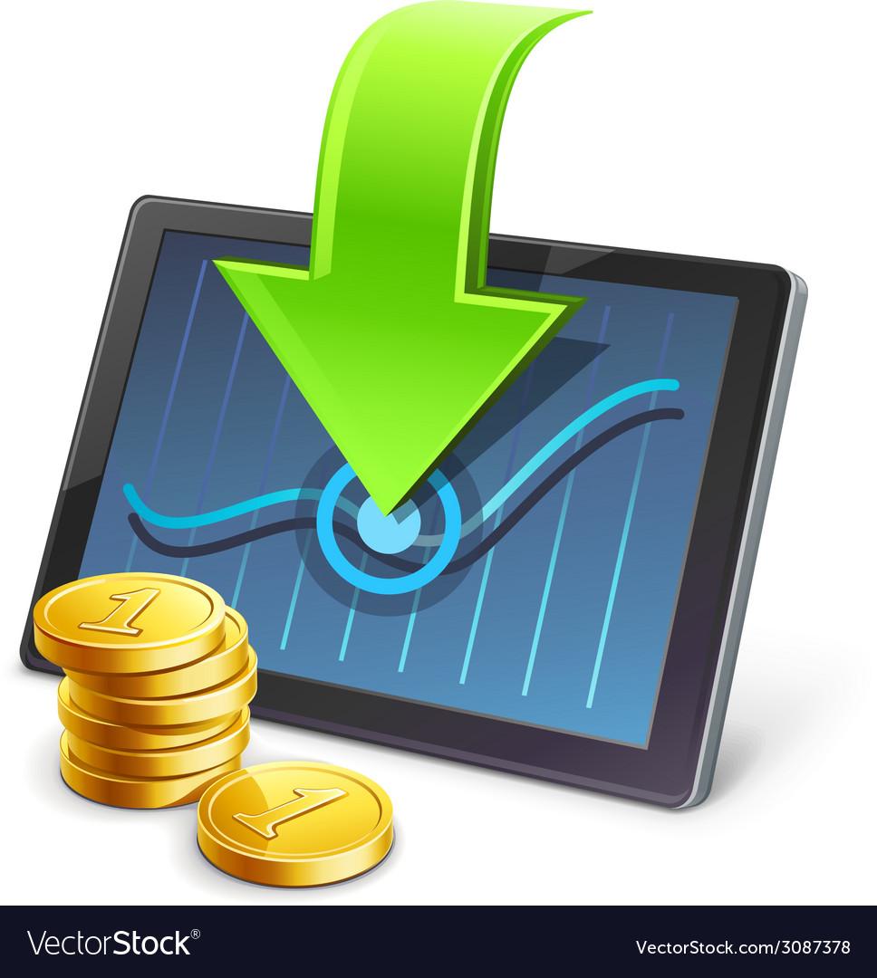 Tablet coins arrow diagram vector | Price: 1 Credit (USD $1)