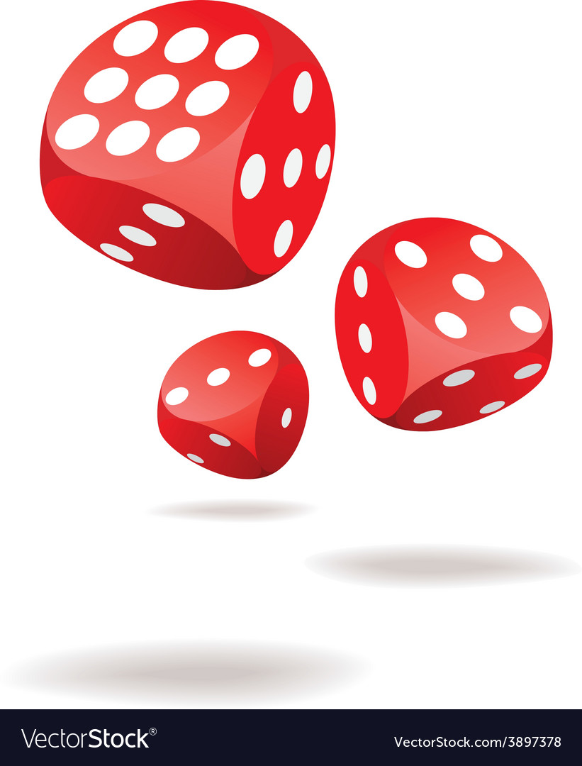 Three red dices in motion vector | Price: 1 Credit (USD $1)