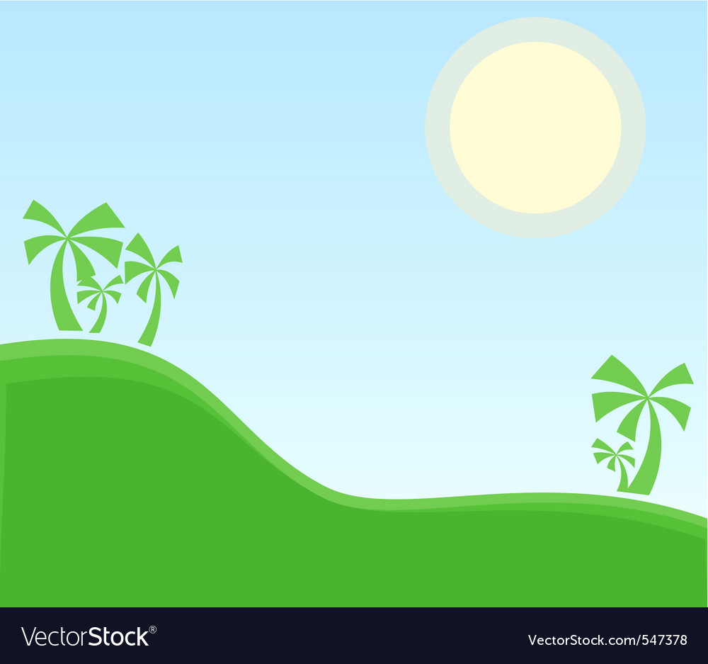 Tropic landscape with palm vector | Price: 1 Credit (USD $1)