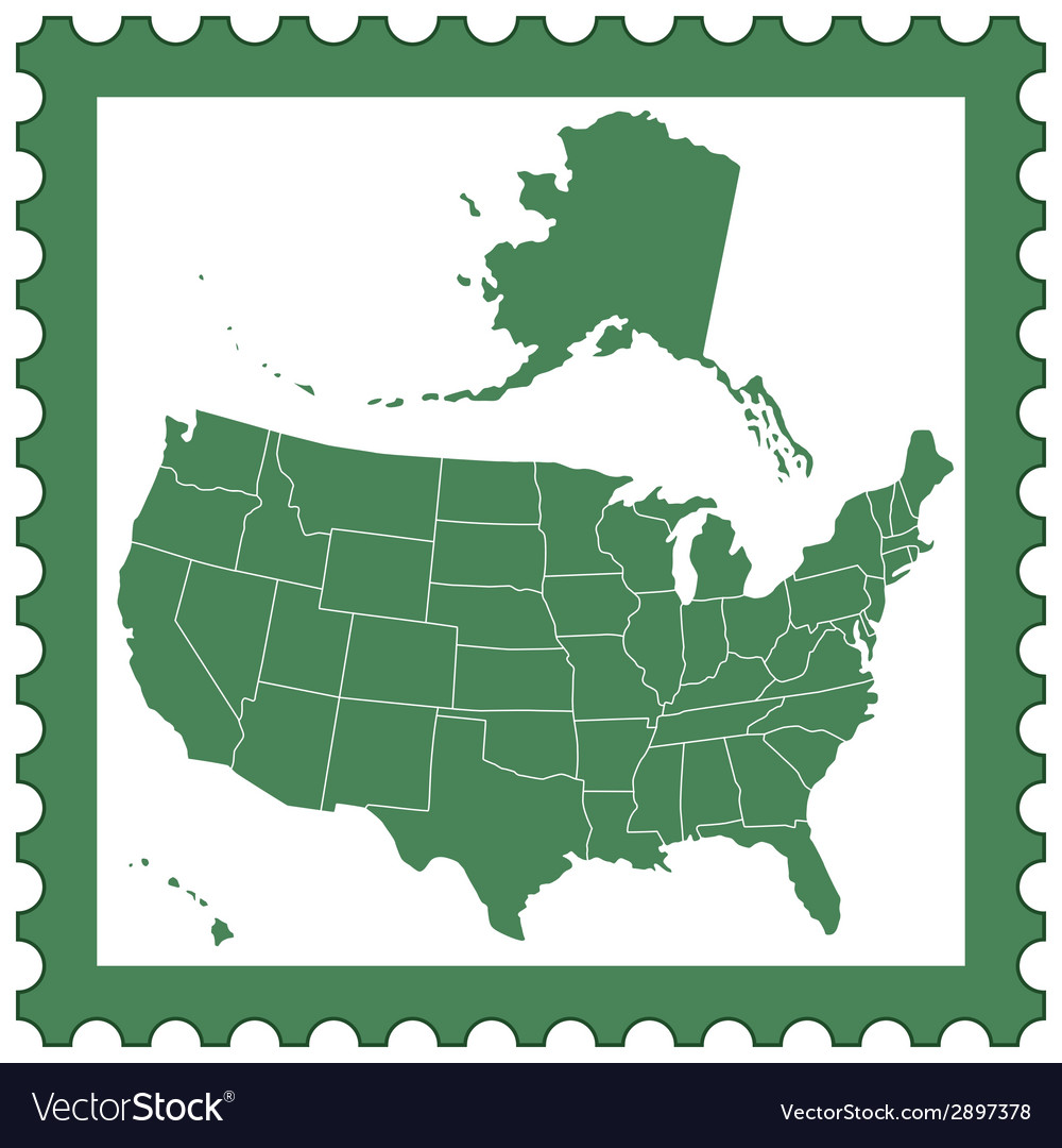 Usa map on stamp vector | Price: 1 Credit (USD $1)