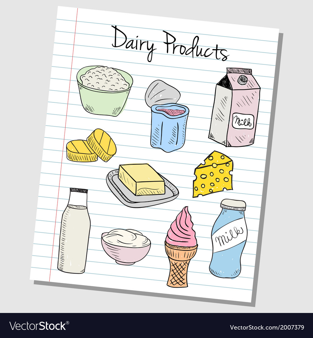 Dairy products doodles lined paper colored vector | Price: 1 Credit (USD $1)