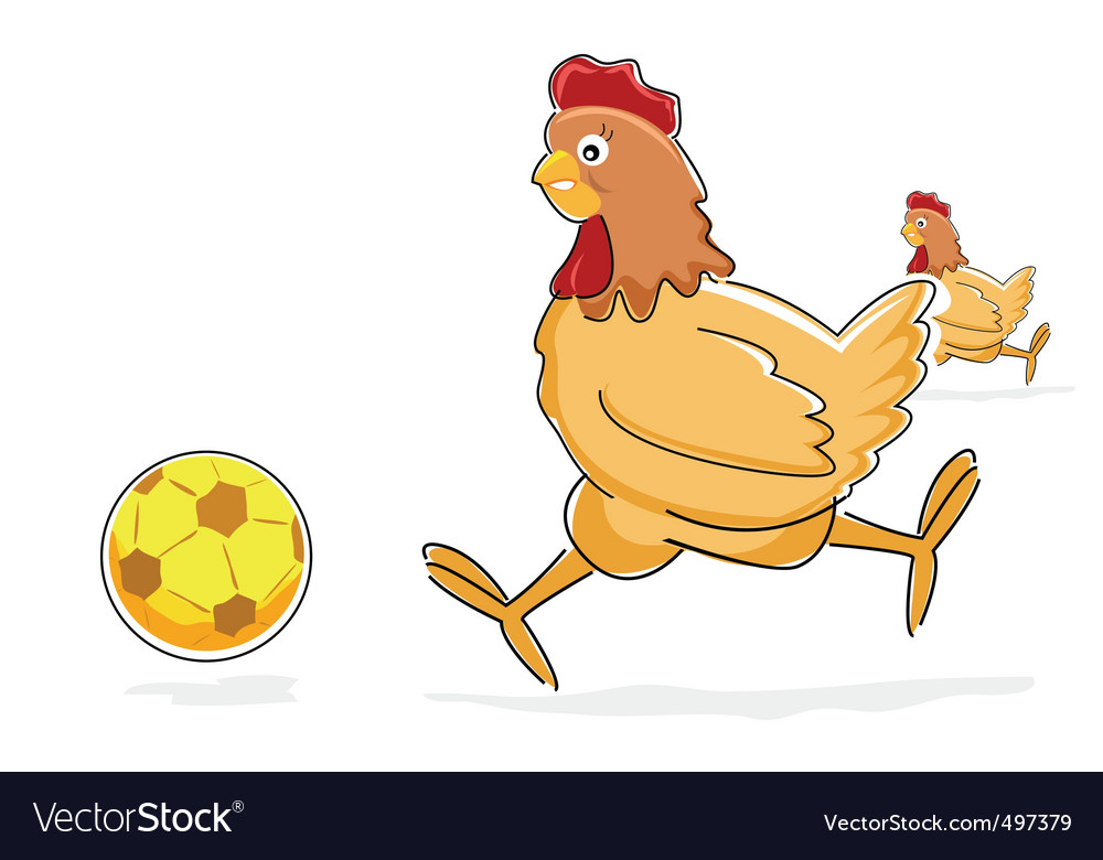 Hen playing with soccer ball vector | Price: 1 Credit (USD $1)