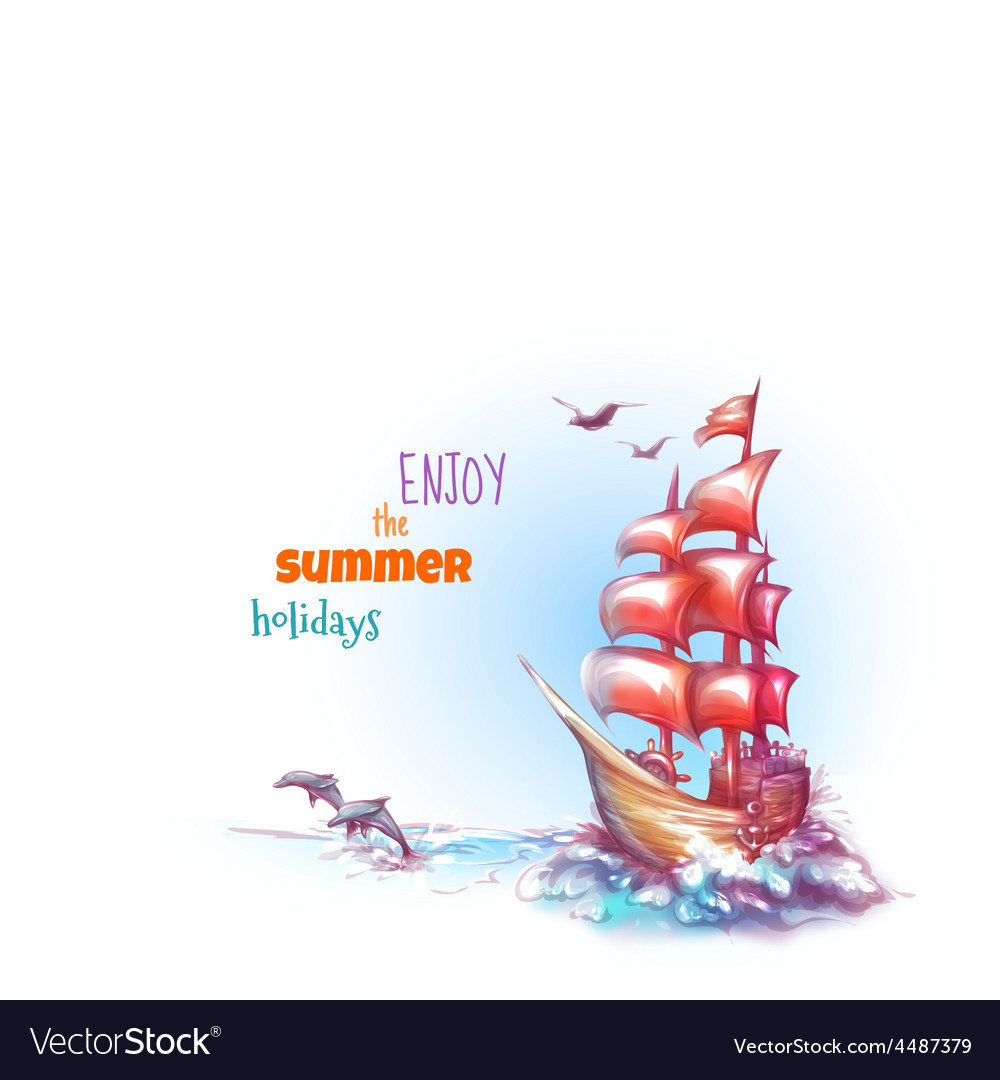 Sail ship with label vector | Price: 3 Credit (USD $3)