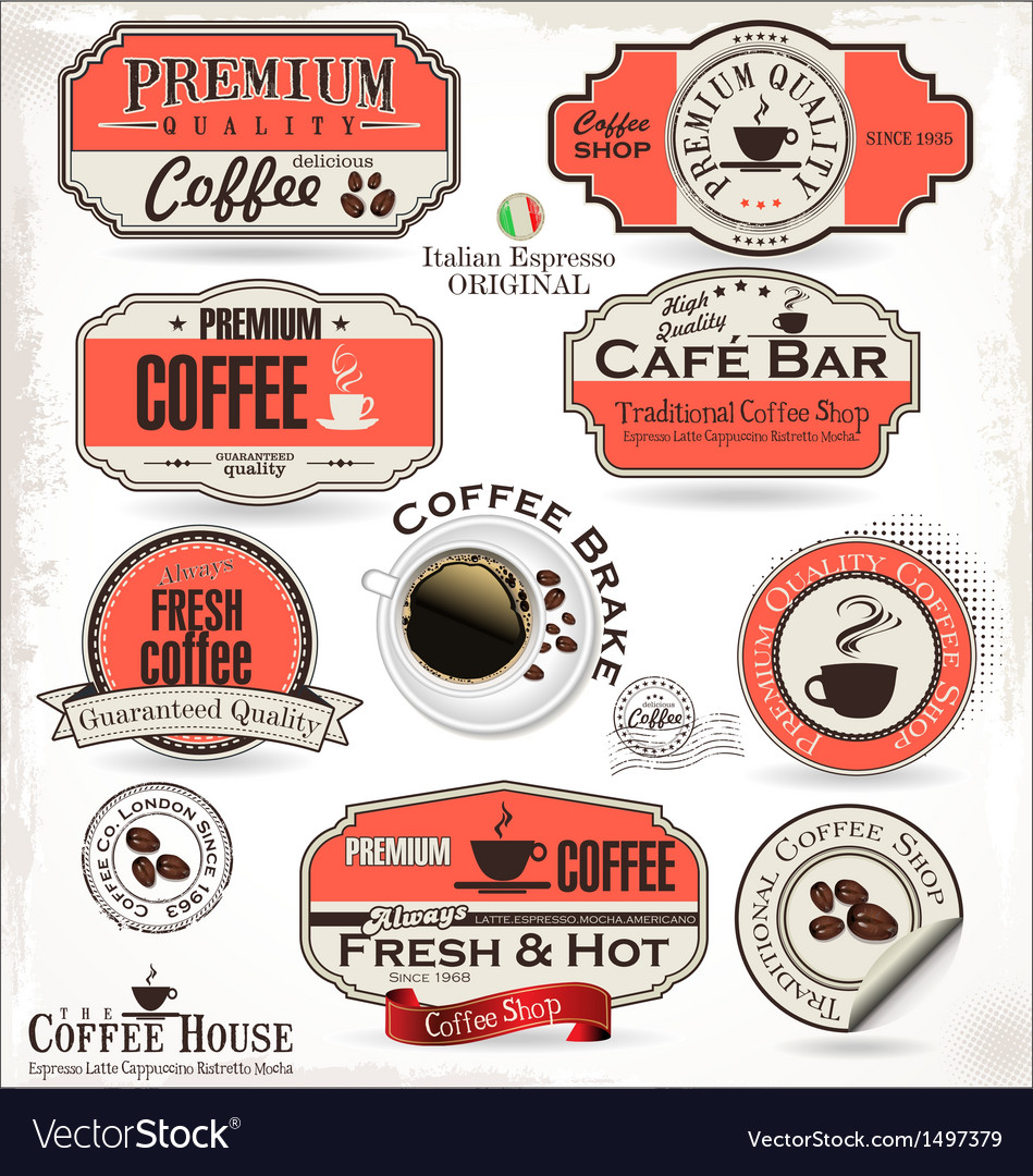 Set of retro vintage coffee labels vector | Price: 3 Credit (USD $3)