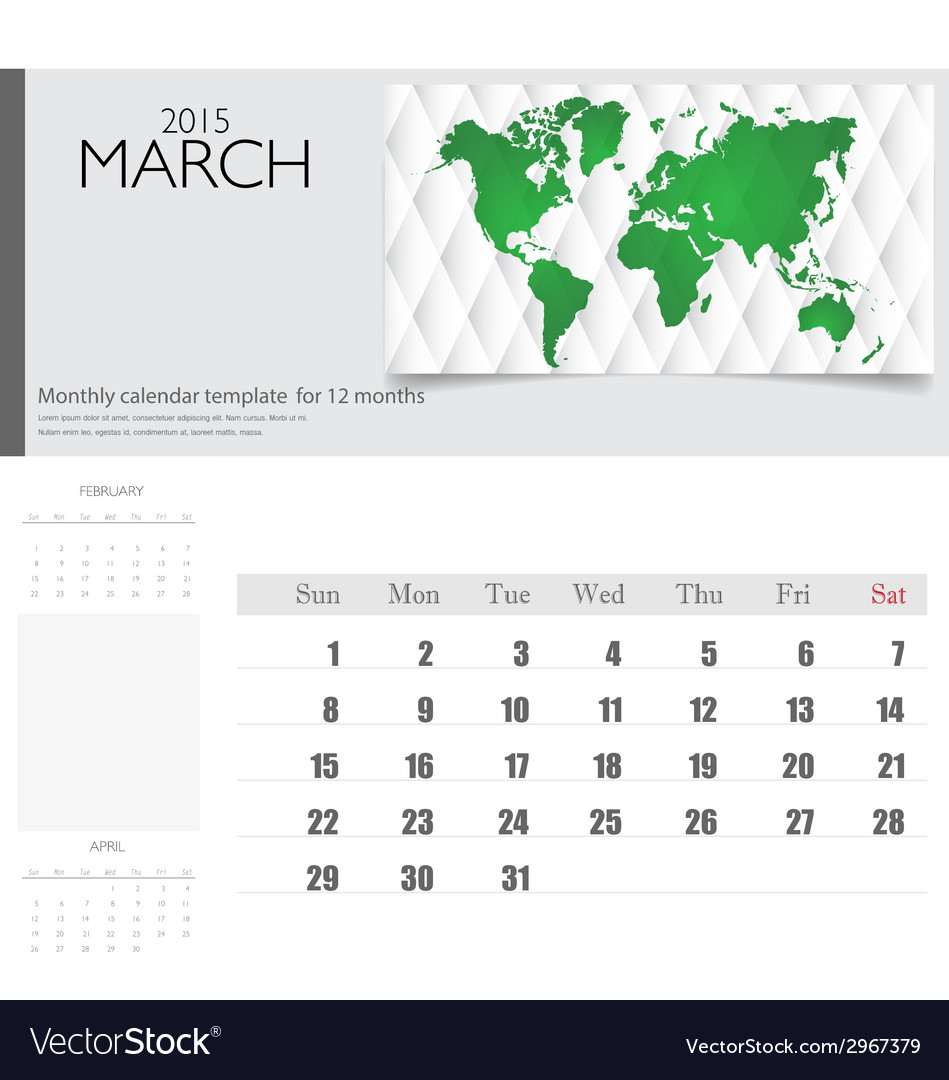 Simple 2015 calendar march vector | Price: 1 Credit (USD $1)