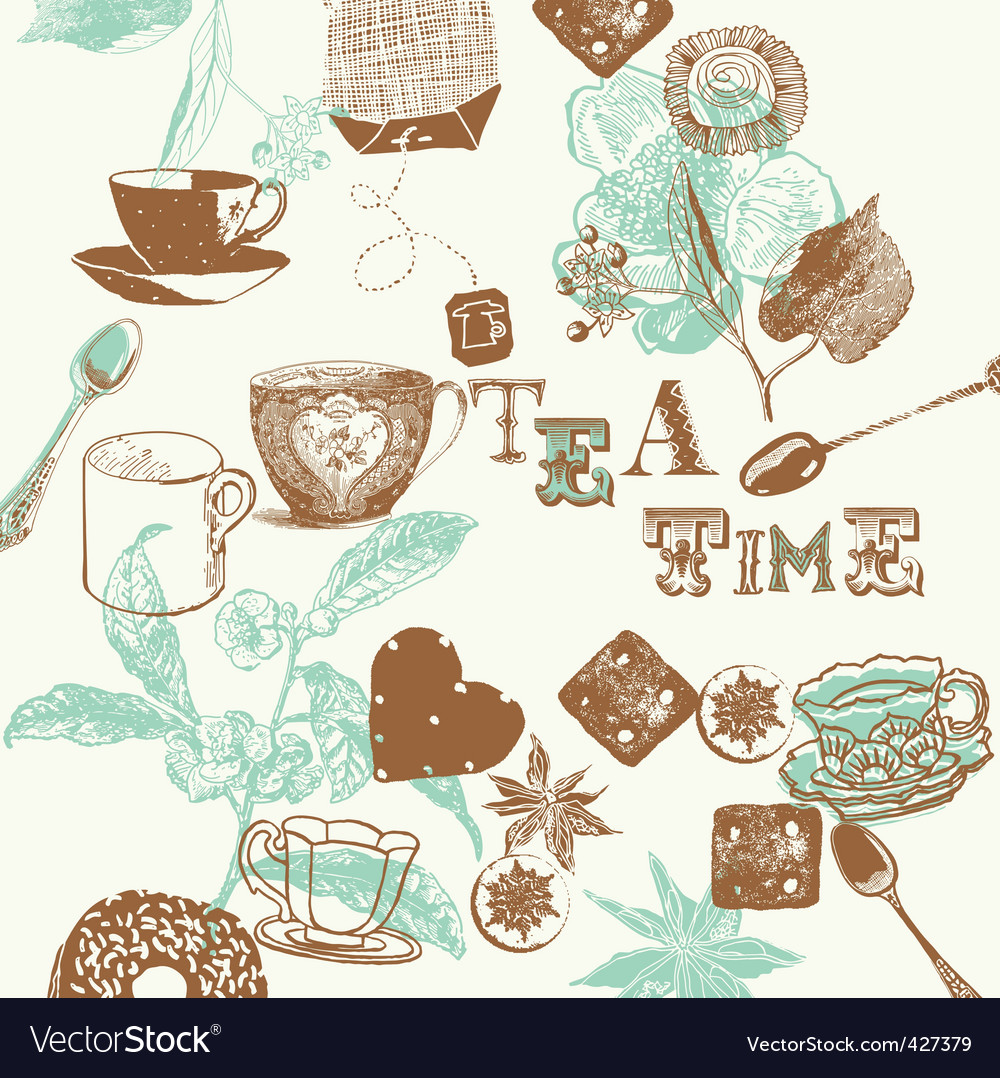 Teatime background vector | Price: 1 Credit (USD $1)
