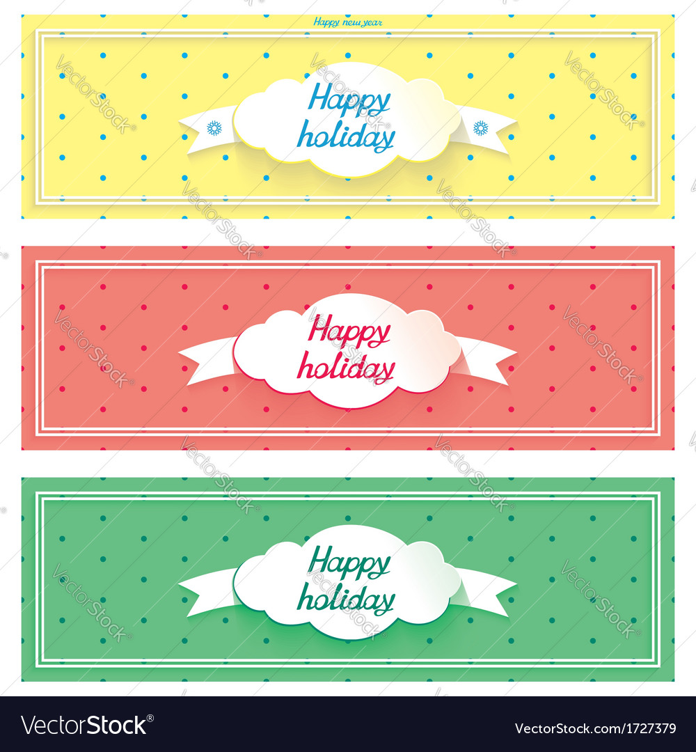 Three happy holiday sunny banner with cloud vector | Price: 1 Credit (USD $1)