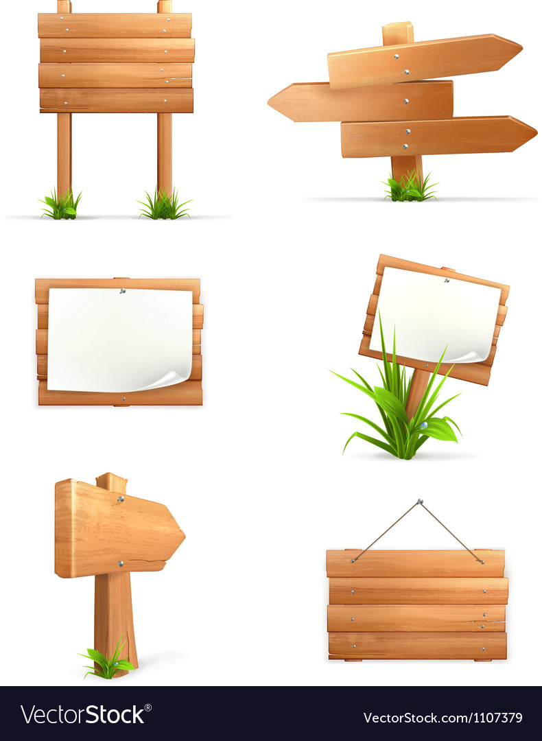 Wooden signs set vector | Price: 3 Credit (USD $3)