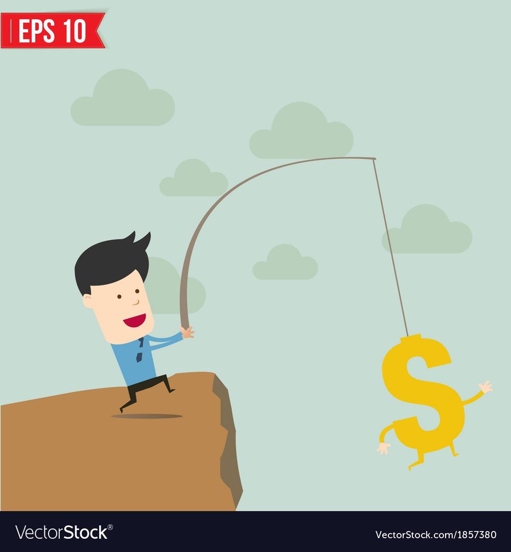 Businessman fishing money concept vector | Price: 1 Credit (USD $1)