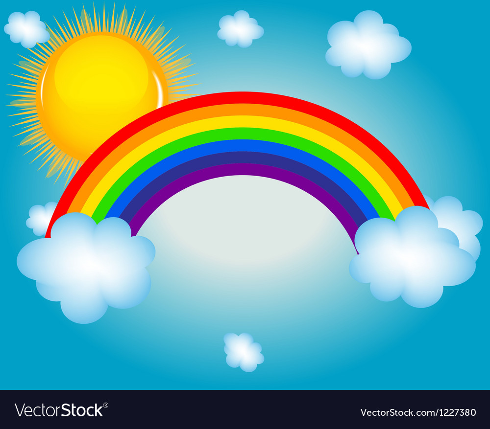 Cloud sun rainbow background vector | Price: 1 Credit (USD $1)