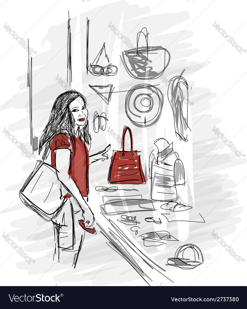 Girl near the storefront sketch for your design vector | Price: 1 Credit (USD $1)