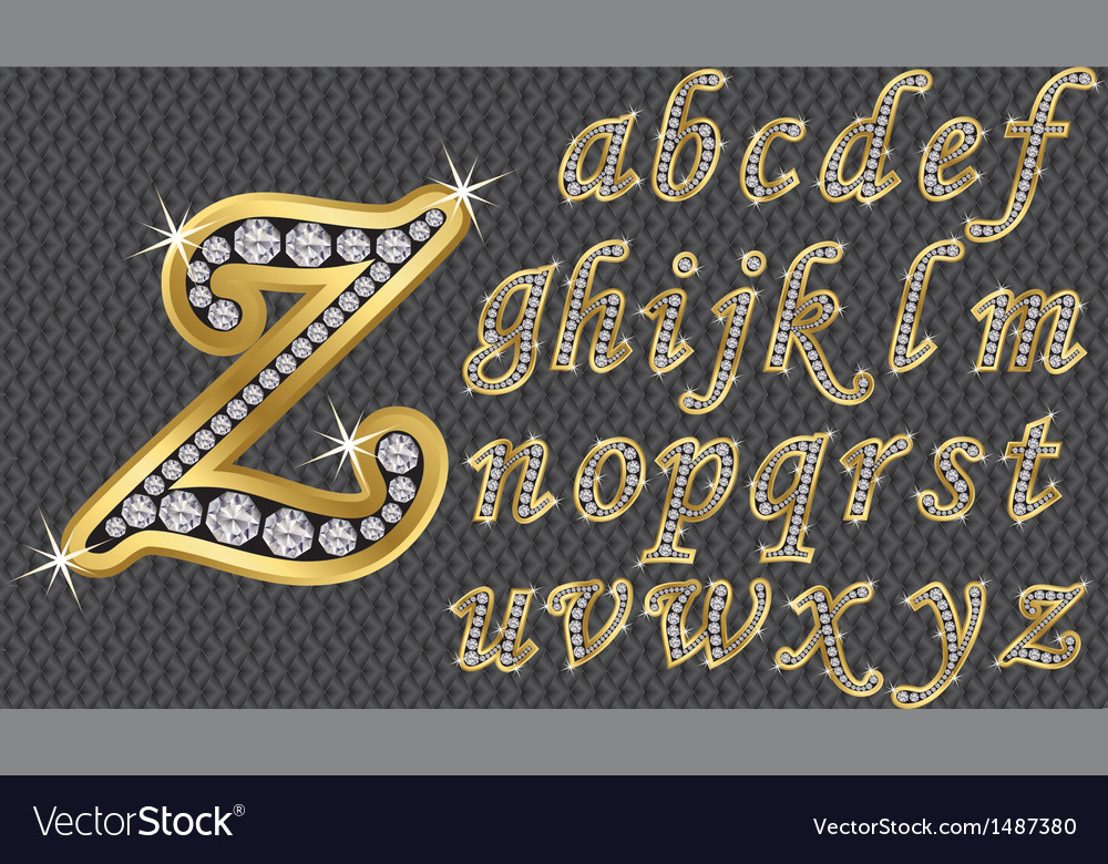 Golden alphabet with diamonds letters from a to z vector | Price: 3 Credit (USD $3)