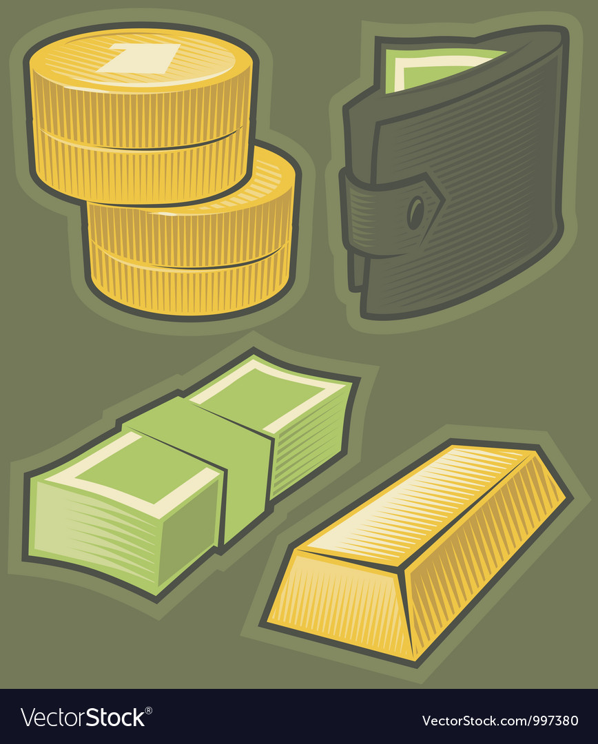 Green icons with money vector   Price: 1 Credit (USD $1)