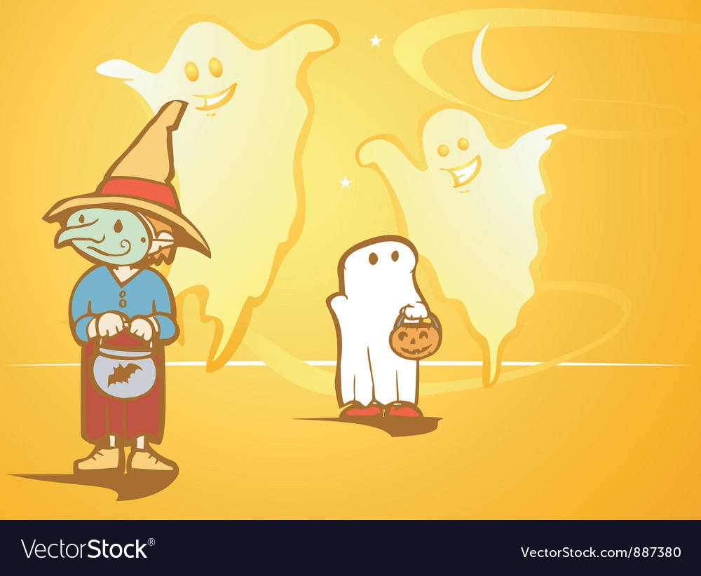 Halloween ghosts vector | Price: 1 Credit (USD $1)