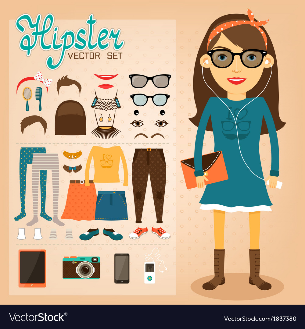 Hipster character pack for geek girl vector | Price: 1 Credit (USD $1)