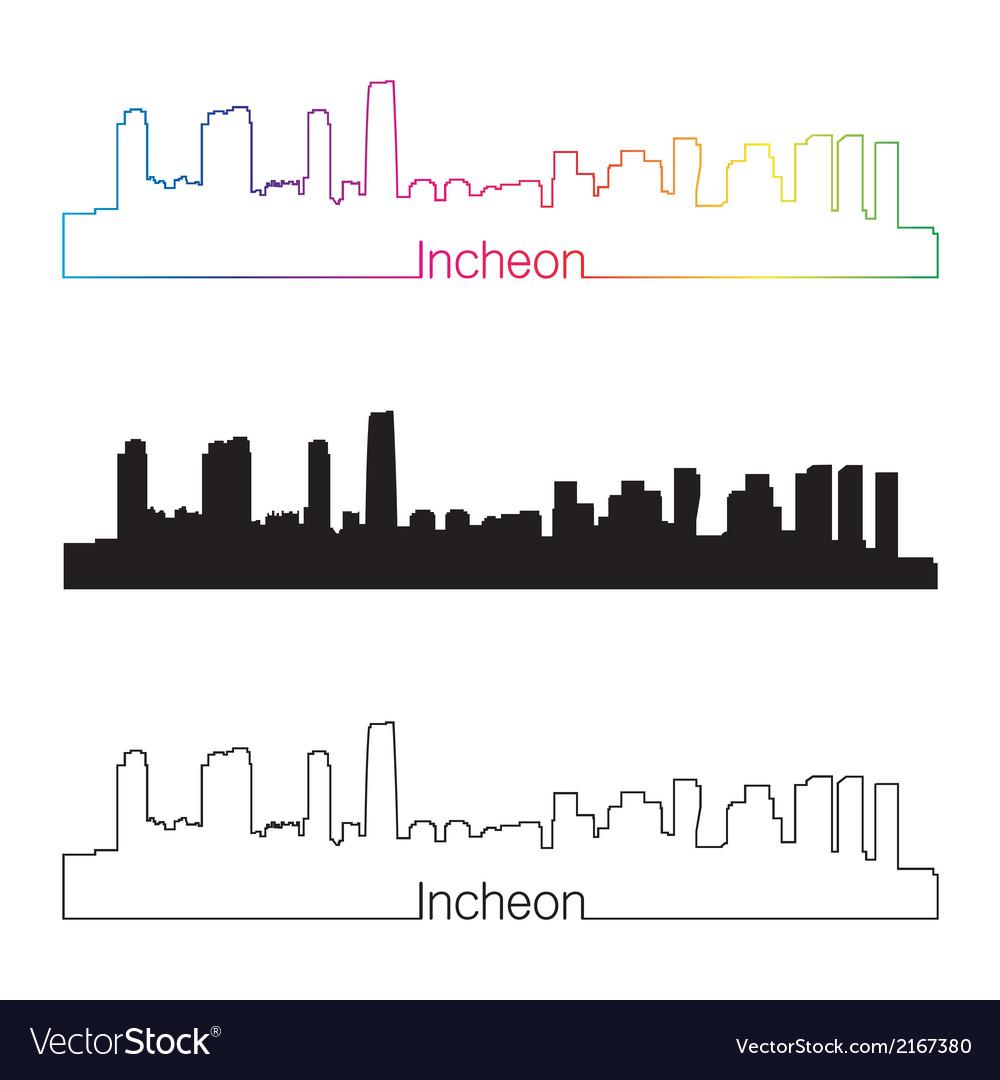 Incheon skyline linear style with rainbow vector | Price: 1 Credit (USD $1)
