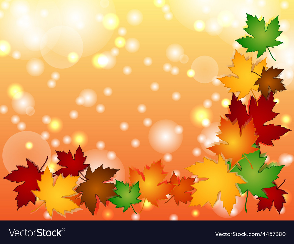 Maple leaves border with light effects vector | Price: 1 Credit (USD $1)