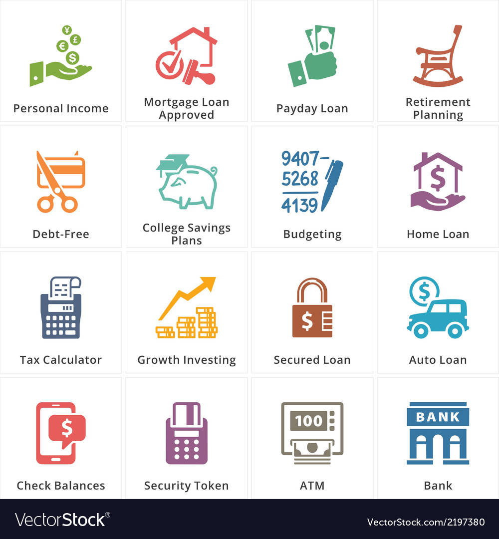 Personal business finance icons set 2 vector | Price: 1 Credit (USD $1)