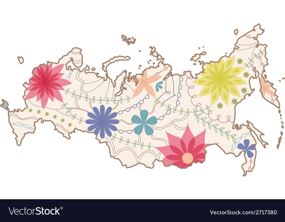 Russian painted map vector | Price: 1 Credit (USD $1)