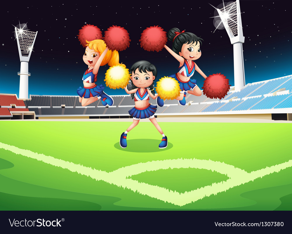 Three cheerdancers performing in the soccer field vector | Price: 1 Credit (USD $1)