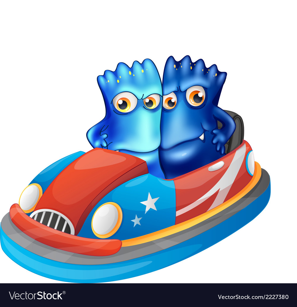 Two blue monsters riding a car vector | Price: 1 Credit (USD $1)