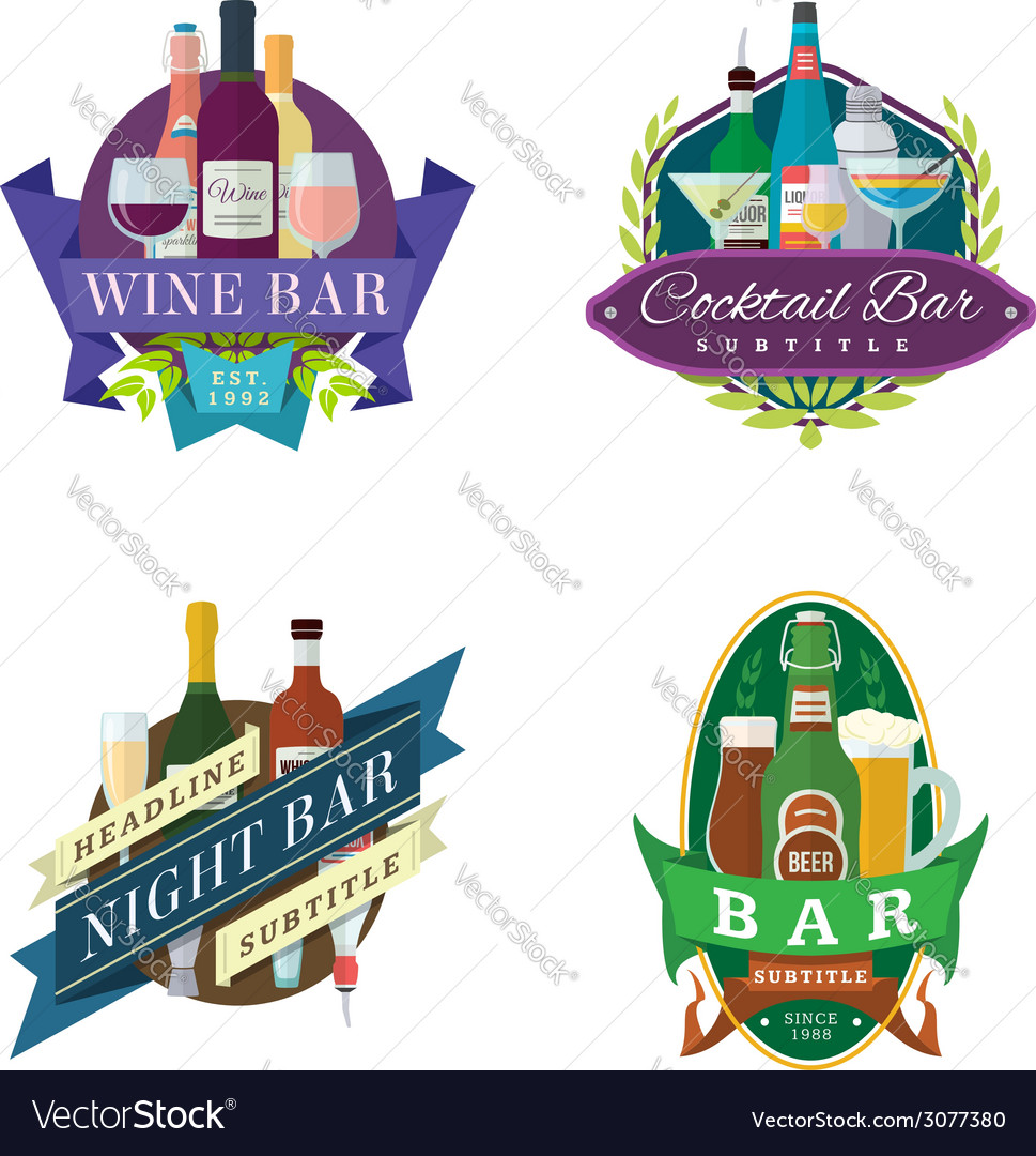 Wine beer bar signs labels badges vector | Price: 1 Credit (USD $1)