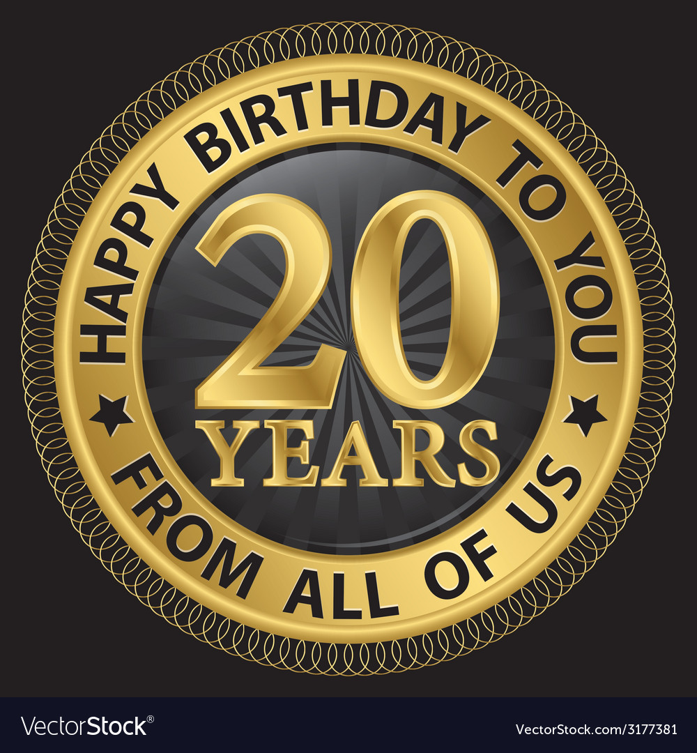 20 years happy birthday to you from all of us gold vector | Price: 1 Credit (USD $1)