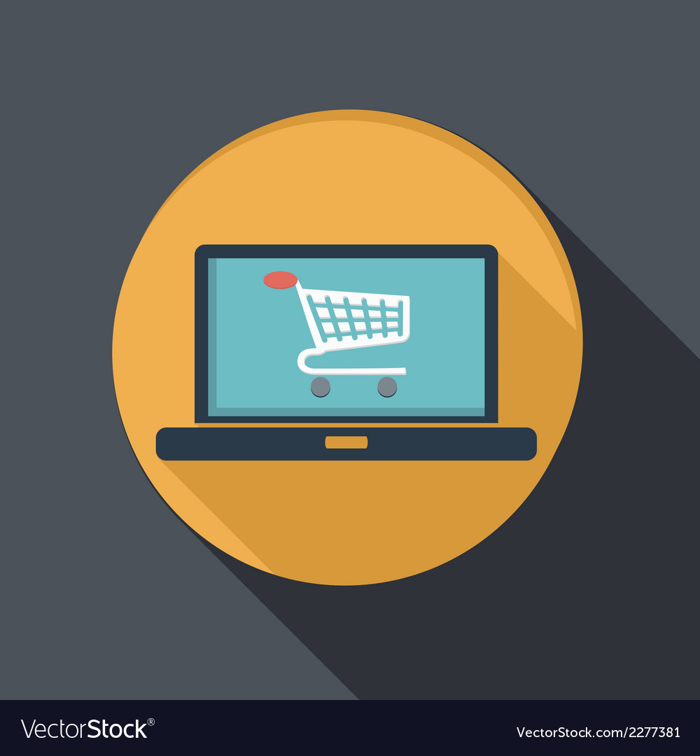 Flat icon laptop with symbol shopping cart vector | Price: 1 Credit (USD $1)
