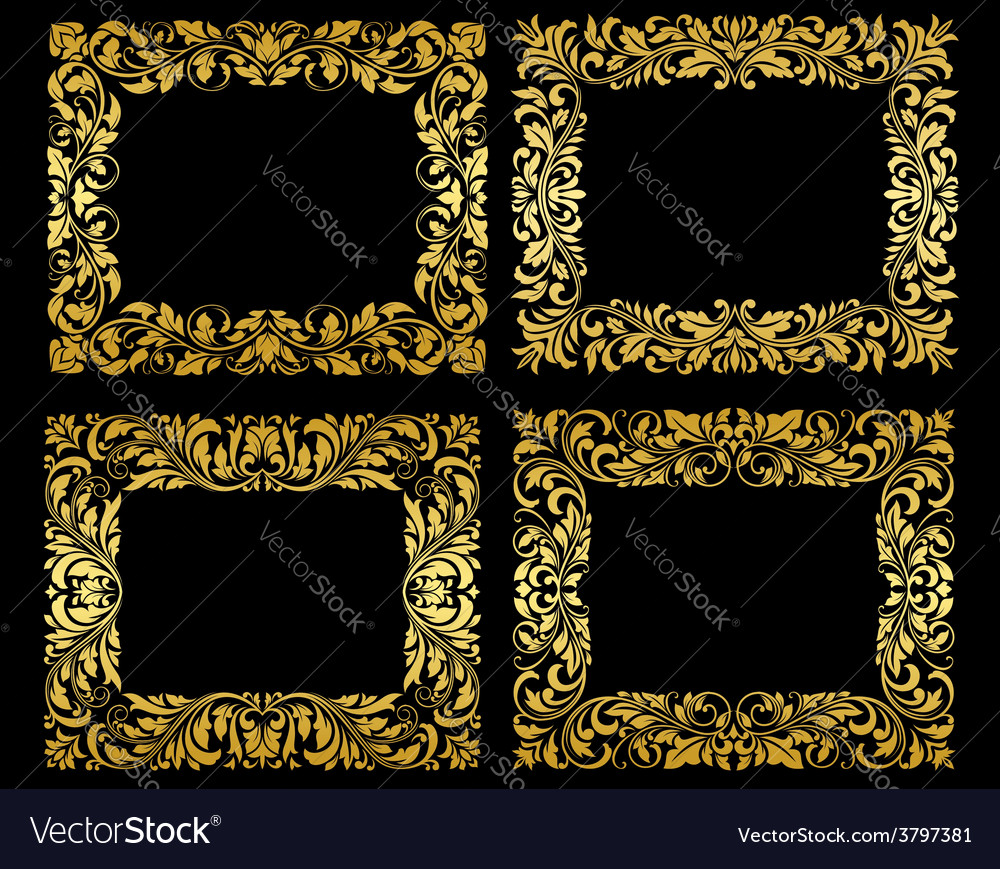 Ornate gold floral frames vector | Price: 1 Credit (USD $1)