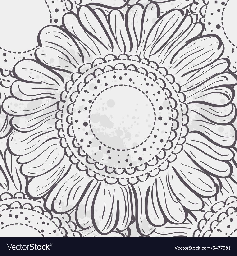 Seamless texture stylized sunflowersblack contour vector | Price: 1 Credit (USD $1)