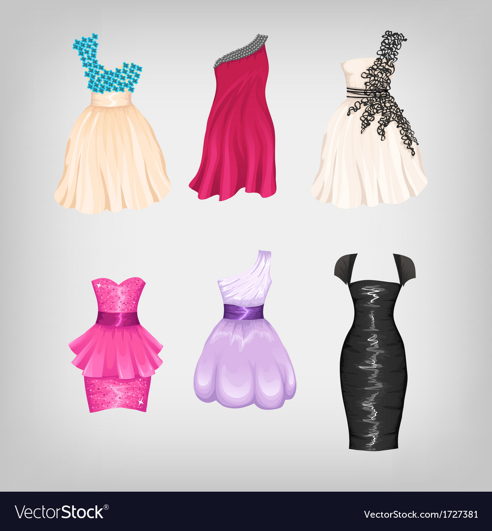 Set of gorgeous dresses vector | Price: 1 Credit (USD $1)