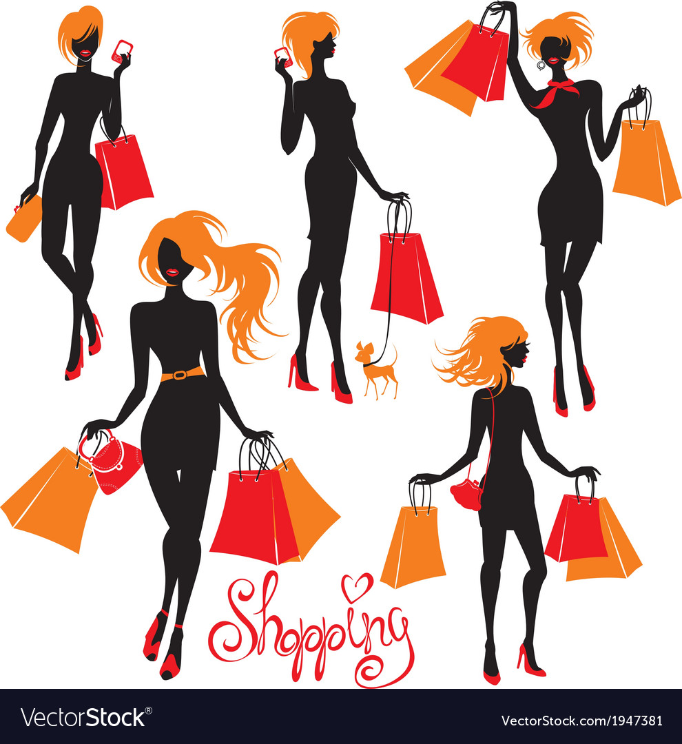 Set of shopping woman silhouettes isolated on whit vector | Price: 1 Credit (USD $1)
