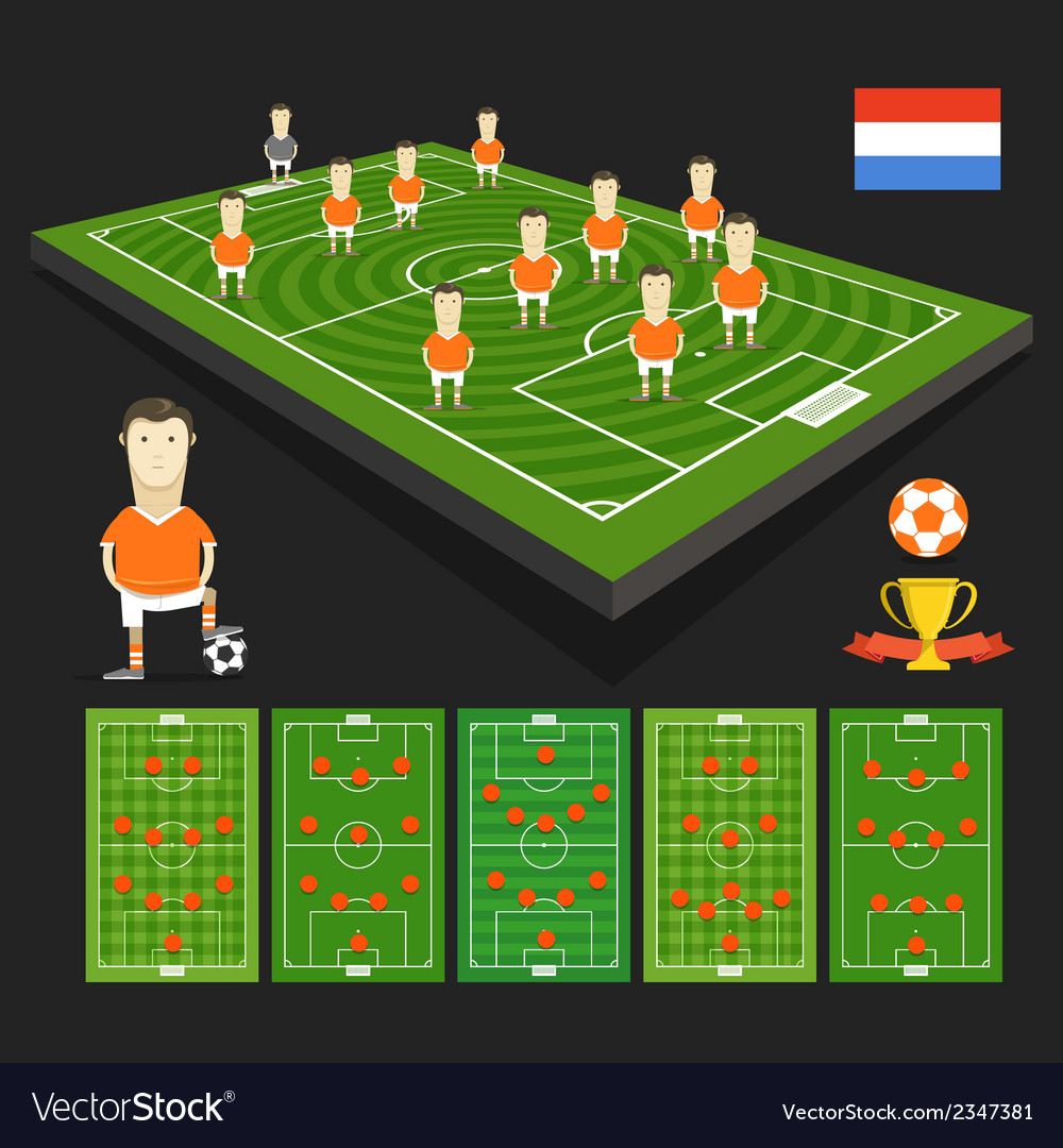 Soccer world cup team presentation holland team vector | Price: 1 Credit (USD $1)