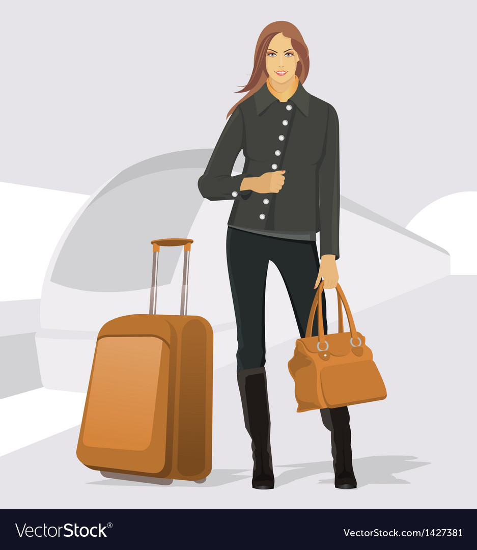 Traveling young woman vector | Price: 3 Credit (USD $3)