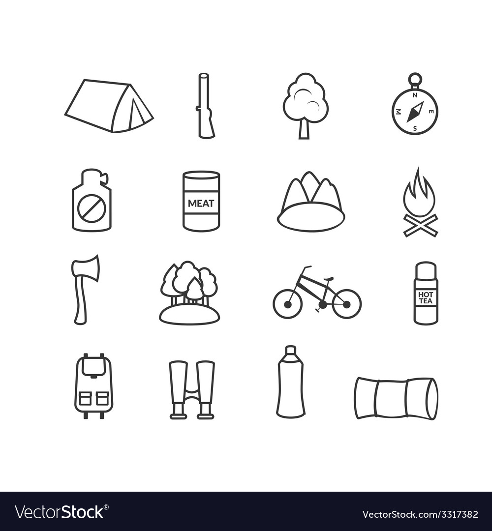 Camping equipment icons vector | Price: 1 Credit (USD $1)