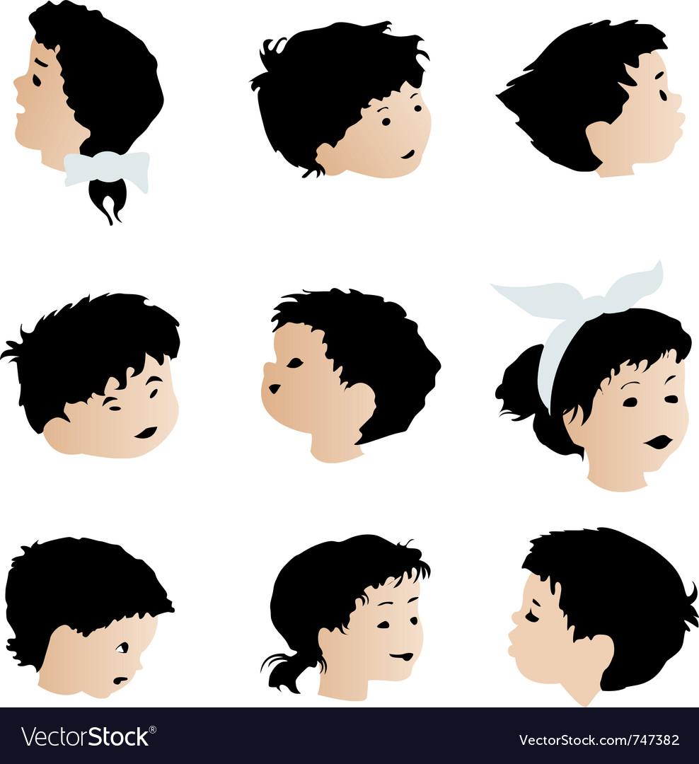 Children faces vector | Price: 1 Credit (USD $1)