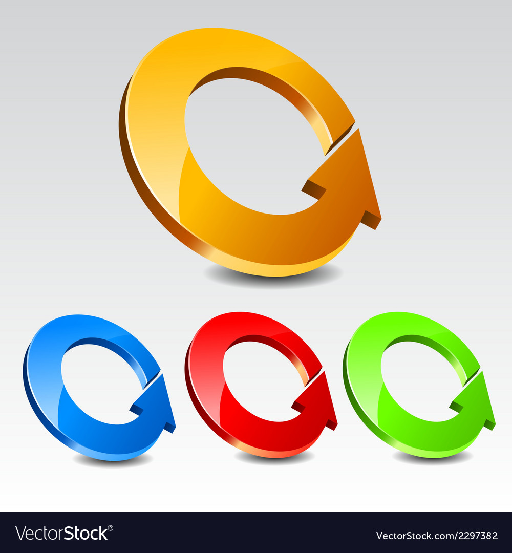 Circle arrow icon set vector | Price: 1 Credit (USD $1)